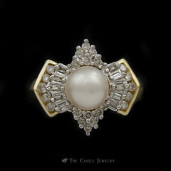 Pearl Ring with 1/3cttw Baguette & Round Diamond Mounting in 14K Yellow Gold