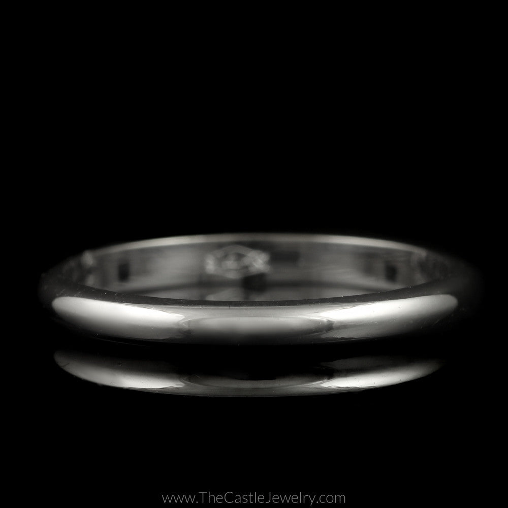 Polished Wedding Band 2mm Wide Size 6.5 in 14K White Gold - The Castle Jewelry  - 1