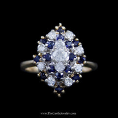 Stunning Marquise Shaped Cluster w/ Diamonds & Sapphires in Yellow Gold - The Castle Jewelry  - 1