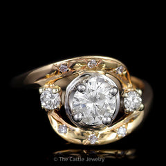 Antique 3 Stone Ring .50ct Round Center with Diamond Bypass Design in 14K Yellow Gold - The Castle Jewelry  - 1