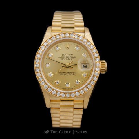 Crown Collection Rolex Watch Solid 18K Gold Factory Diamond Dial & Bezel 69138