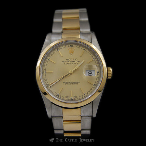 Rolex Watch Datejust w/ Champagne/Gold Dial & Two Toned Oyster Bracelet ref. 16203