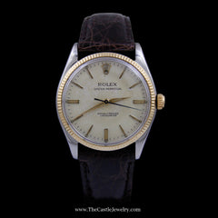 Vintage Stainless Steel Oyster Perpetual Rolex Watch with 18k Yellow Gold Bezel Circa 1955 6567