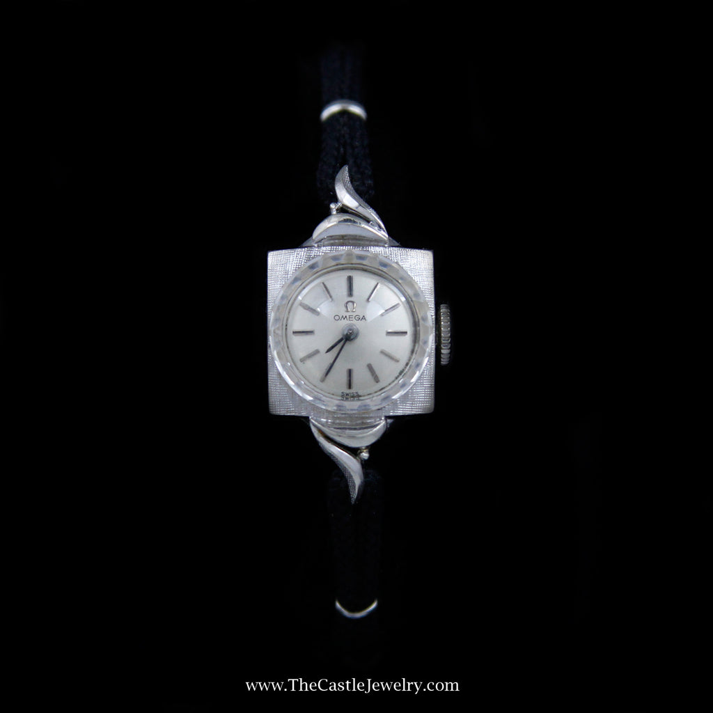 Beautiful Antique Style Omega Watch in White Gold Case with Black Cord Band - The Castle Jewelry  - 1