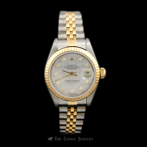 Ladies Rolex Watch 18K & Stainless w/ White Mother of Pearl Diamond Dial Jubilee 79173