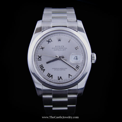 All Stainless Rolex DATEJUST 36mm with Silver Roman Numeral Dial 116200