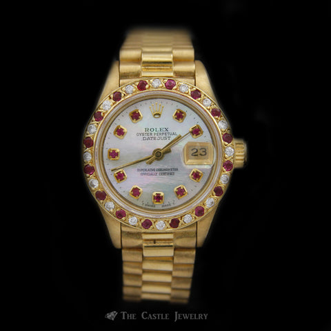 Ladies Presidential Rolex w/ Custom Ruby Dial & Ruby/Diamond Bezel in 18K Gold