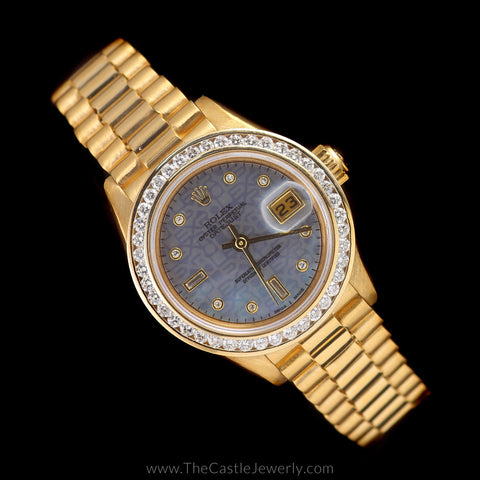 Ladies 18K Presidential Rolex Signature Mother of Pearl Diamond Dial & Diamond Bezel 69178