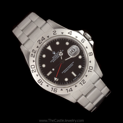 Rolex Explorer II with Black Dial All Stainless Oyster Bracelet 16570