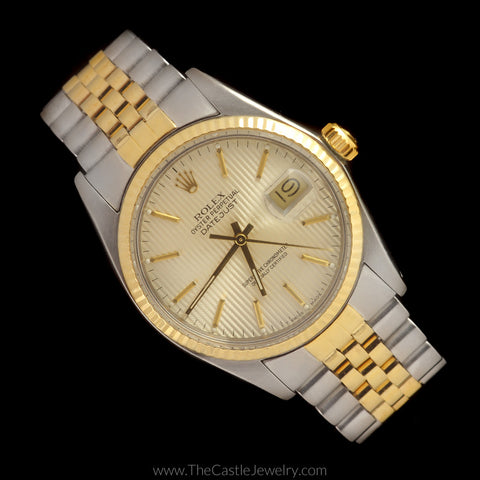 Gent's Rolex DateJust with Tapestry Dial 14K and Stainless Jubilee Bracelet 16000