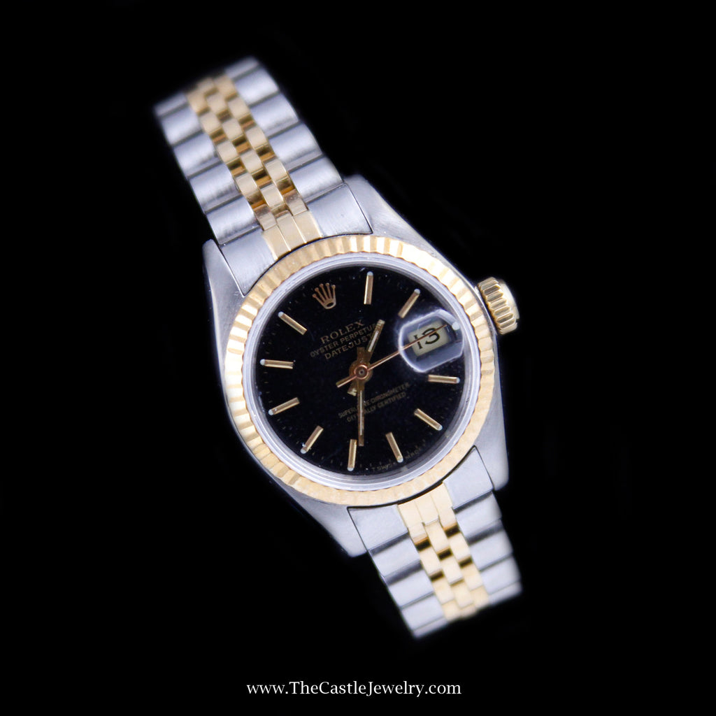 Ladies Rolex Datejust 18K & Stainless Jubilee w/ Black Dial & 2 Year Warranty - The Castle Jewelry  - 1