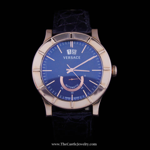 Versace Acron Big Automatic Watch with Date ENTIRE CASE is 18K Rose Gold