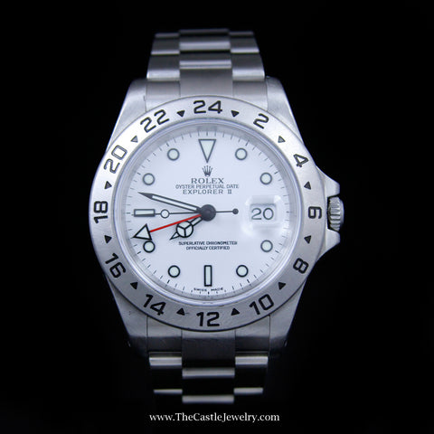 All Stainless Rolex Explorer II with White Dial & 24 Hour Bezel 16570 w/ 2 Year Warranty