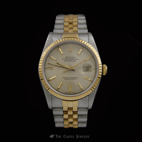 Rolex Datejust Watch Two Toned Jubilee Bracelet w/ Tapestry Dial ref. 16233