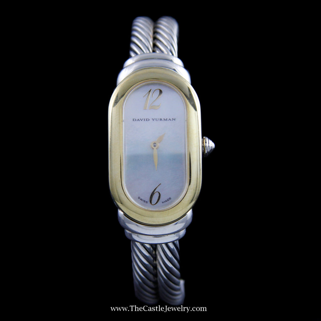 David Yurman Mother of Pearl Cable Watch Sterling Silver & 18K T408-M85 - The Castle Jewelry  - 1