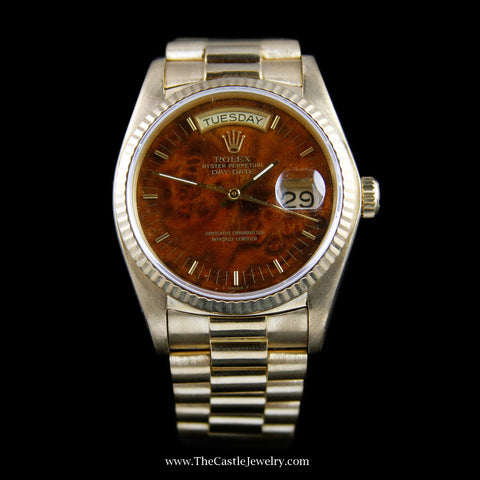 Presidential Day-Date Rolex Watch w/ Burled Wood Dial Model 18038 w/ Warranty
