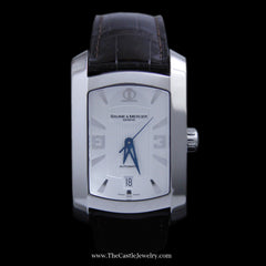 Baume Mercier Hampton Milleis Watch w/ White Dial & Brown Leather Strap - The Castle Jewelry  - 1