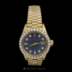 Ladies Presidential Rolex in 18K Gold w/ Custom Blue Diamond Dial & Diamond Bezel ref. 6917