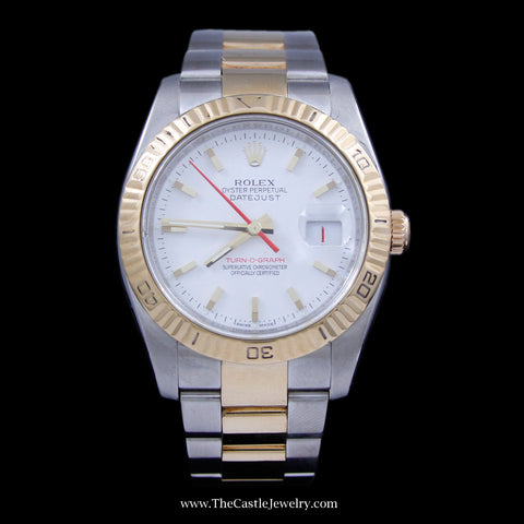 Rolex Datejust Watch Turn-O-Graph White Dial & Rotating Bezel 18K & Stainless Ref. 116263