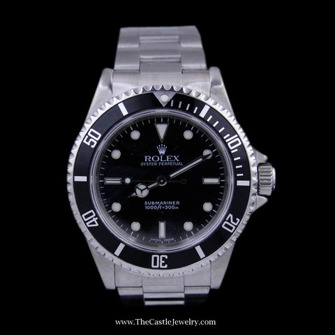 Gent's Rolex Submariner Black Dial and Black Bezel All Stainless Oyster Bracelet 14060 M Series