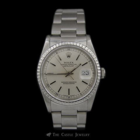 All Stainless Rolex Datejust with Silver Dial & Oyster Bracelet ref. 16220