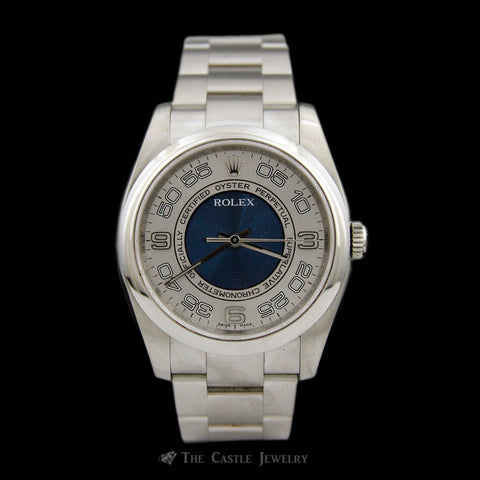 Rolex All Stainless Oyster Perpetual 116000 w/ Bulls Eyes Blue & Silver Dial w/ 2 Year Warranty
