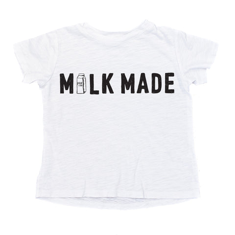 MILK MADE Signature Drop Back Tee (White)