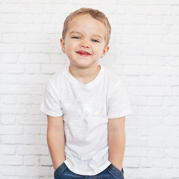 Child in Classic Drop Back Tee (White)