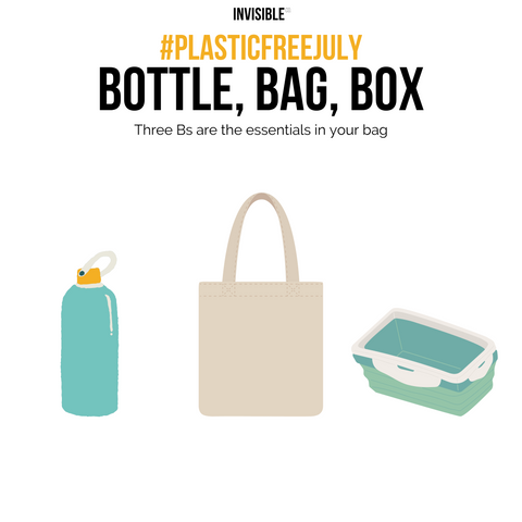 Plastic free July - Bring your own bottle, box and bag