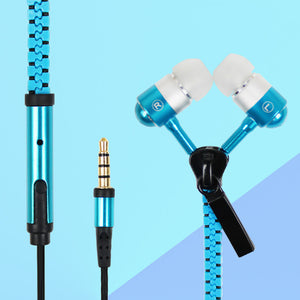 Stereo Zipper Handsfree Headset Earphone Mic