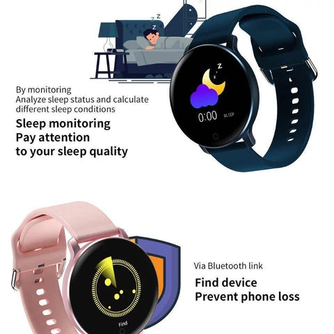 Image of Smartwatch S529 Bluetooth, IP67, Fitness Tracker, Monitorizare ritm cardiac, Compatibilitate Android si iOS, Roz