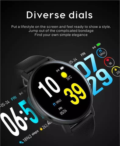 Image of Smartwatch S550 masurare Presiune sanguină, fitness, Monitor de ritm cardiac, Android iOS etc. negru