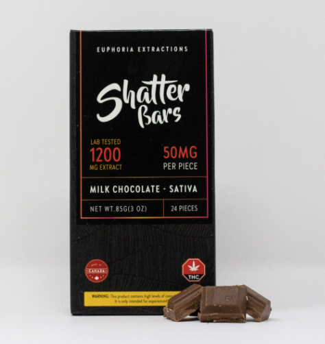 Euphoria Extractions Milk Chocolate Shatter Bar 1200mg (Indica/Sativa)