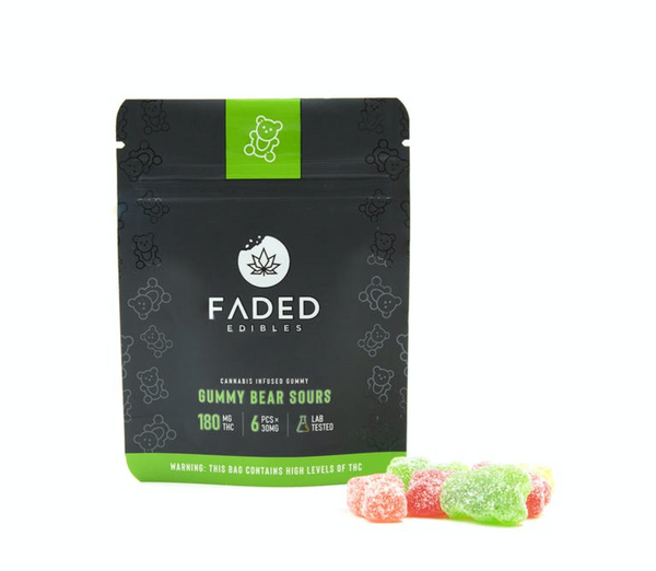 Faded Infused Edibles - Gummy Bear Sours THC 180mg