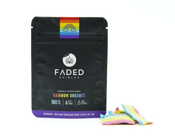 Faded Infused Edibles - Rainbow Sherbet THC 180mg
