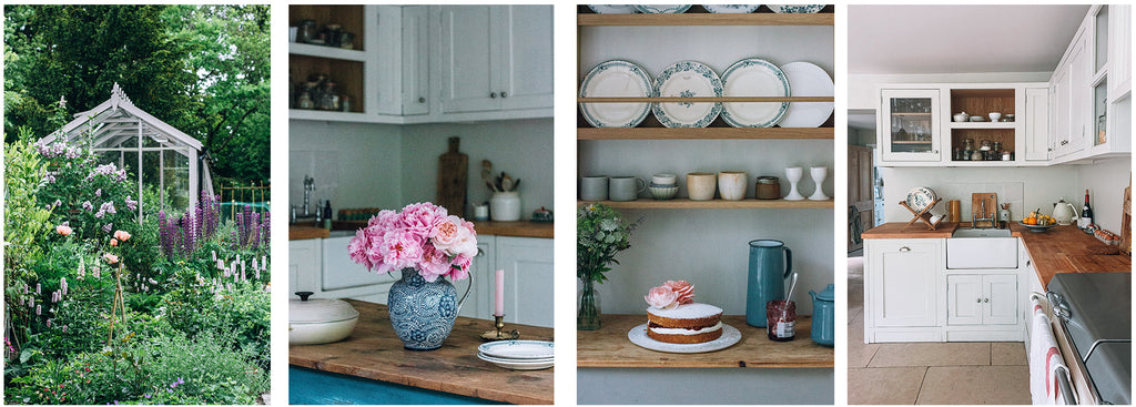 House proud collage, flowers, garden, kitchen and victoria sponge