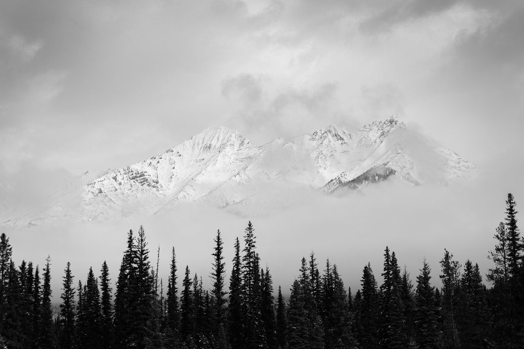 Mt. Sinclair In Clearing Winter Storm (B&W), Looking West from Nipika Mountain Resort, BC.