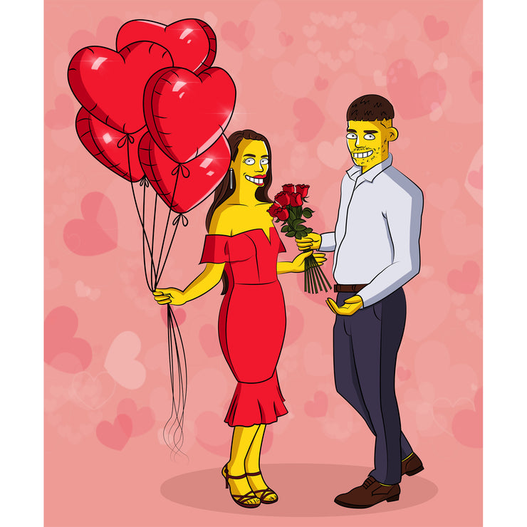 Heart Background Custom Simpson Couple Valentine