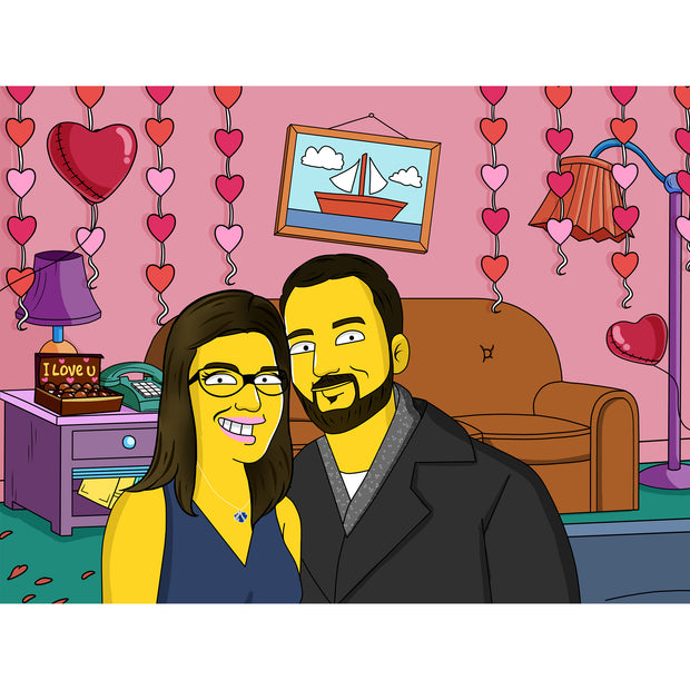 Custom romantic simpson portrait valentine day background couch