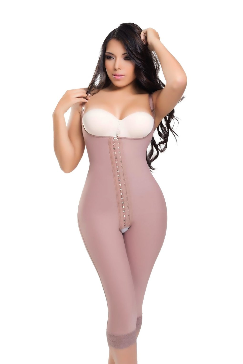 Full Body Shaper Knee Lenght Post Surgery Thin Straps Shaper