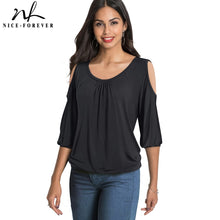 Load image into Gallery viewer, Nice-Forever Casual Cold Shoulder with O Neckline Solid Color t-shirts  Women Spring Tees tops T045