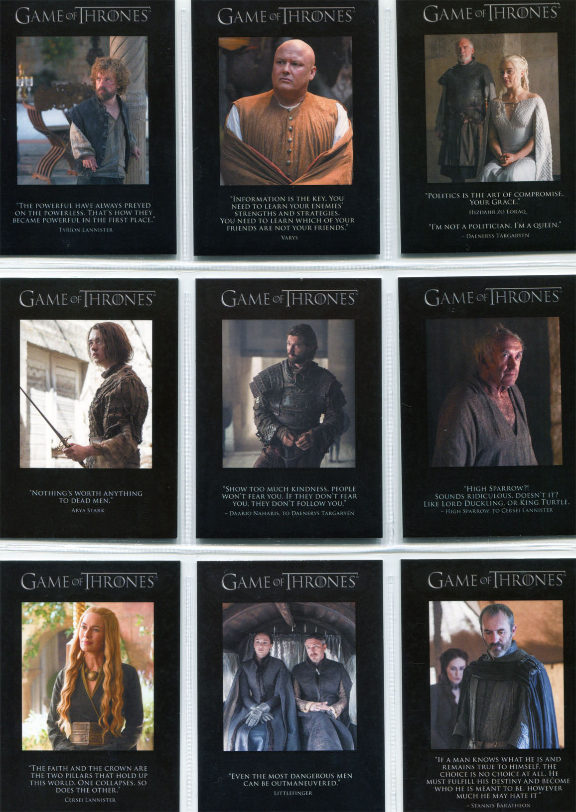 Game of Thrones Season 5 Quotable Complete 9 Chase Card Set Q41-Q49 | Digital Heroes