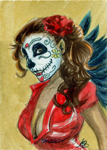DH 5FUNity Sketch Card by Amber Stone of Babes of the Dead | Digital Heroes