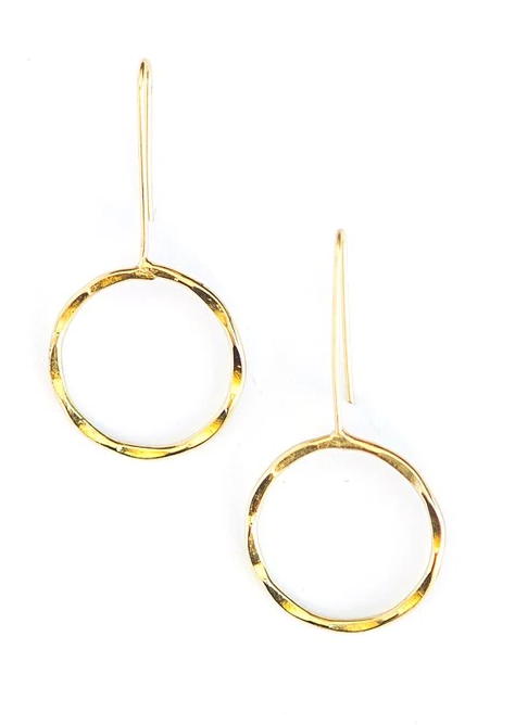 Brass Full Moon Earrings