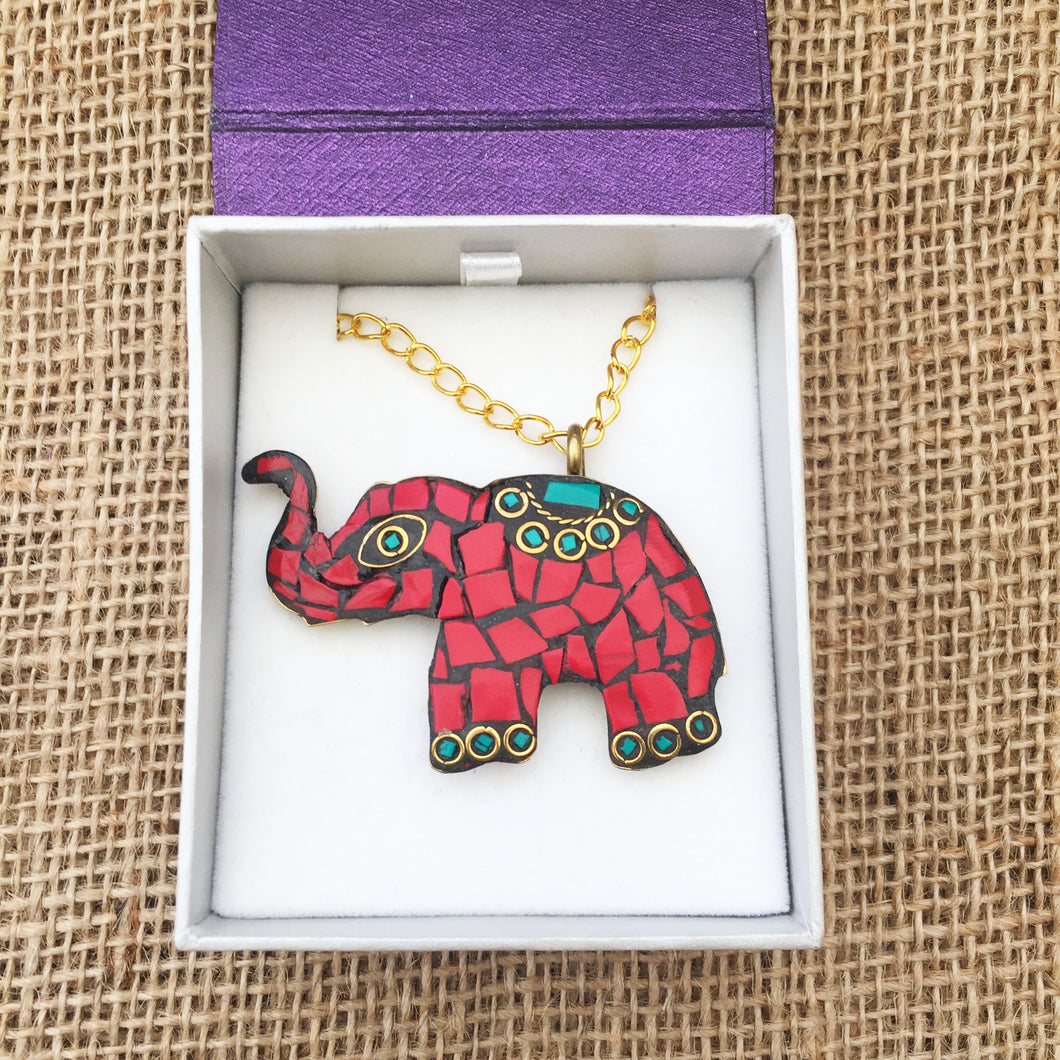 Red Elephant Necklace