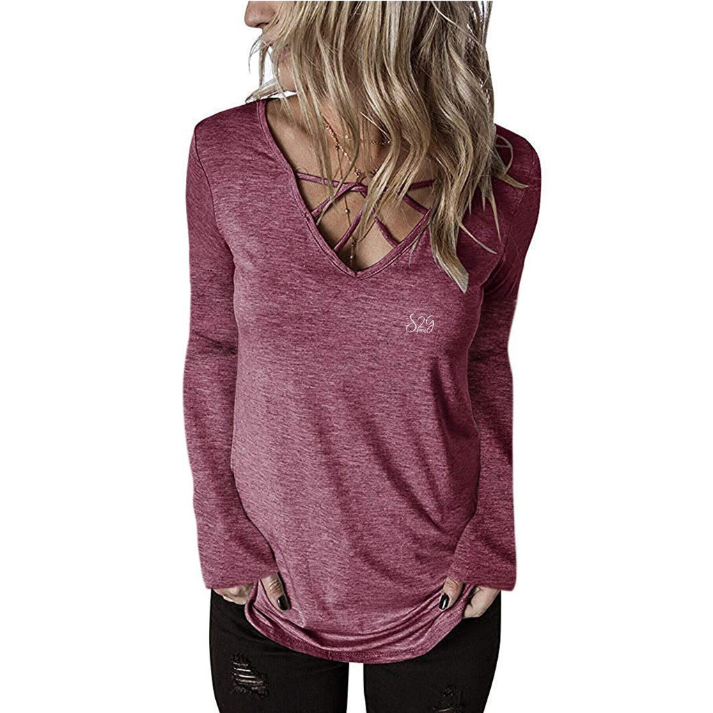 S2G Women's V Neck Long Sleeve Fashion Top
