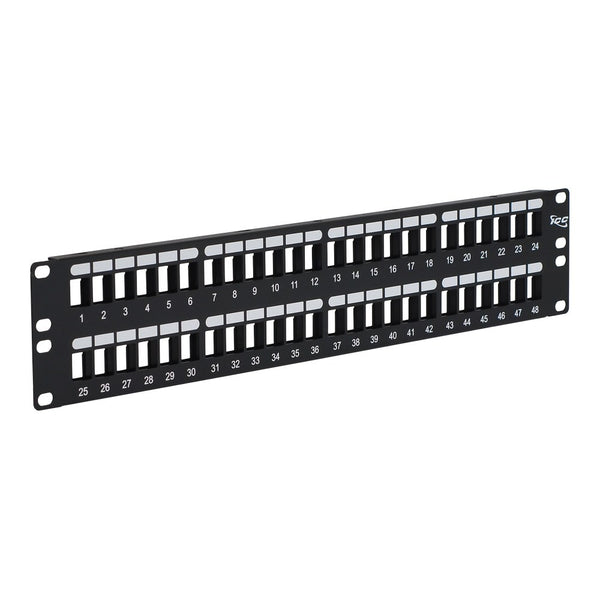 ICC Blank Patch Panel with 48 Ports and 2 RMS for HD Style