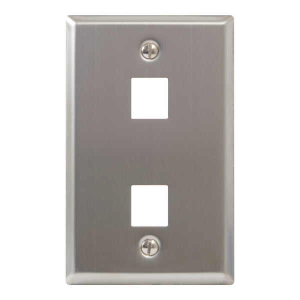 ICC Classic Stainless Steel Faceplate with 2 Ports for EZ®/HD Style in Single Gang
