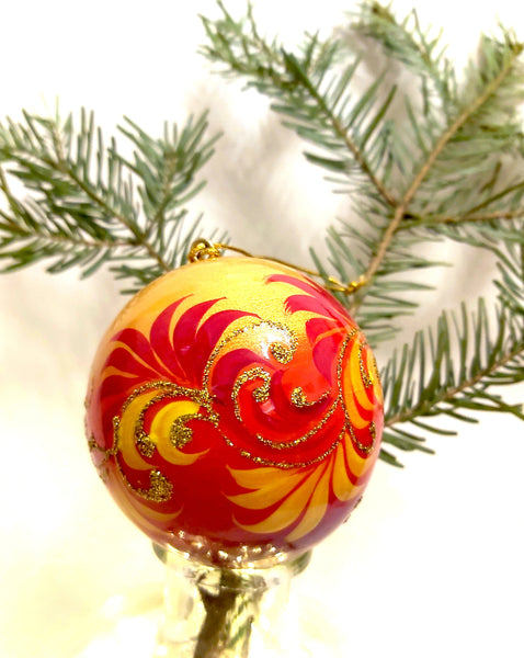 Russian Fairy Tale Collection: Large Red and Orange Bauble