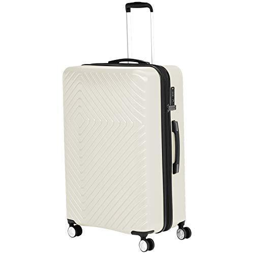 AmazonBasics Geometric Travel Luggage Expandable Suitcase Spinner with Wheels and Built-In TSA Lock, 31.3-Inch - Cream